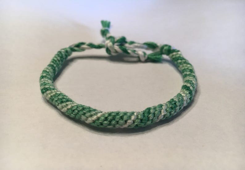 Green and White Ombre Cylinder Spiral Friendship Bracelet