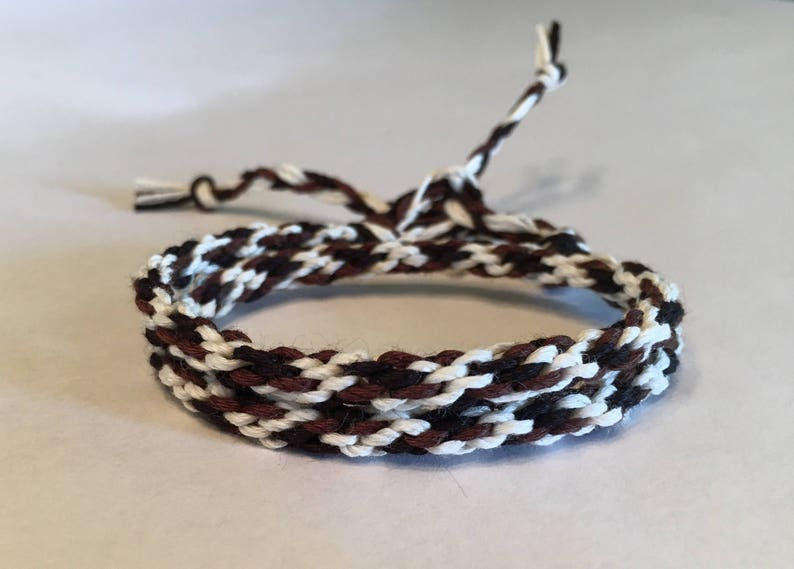 Black Brown and Cream Cylinder Double Wrap Bamboo Bracelet