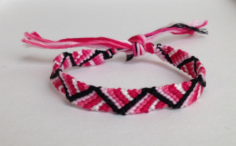 30e54f08d8530 Pink & White Ombre with Black Zig Zag - Friendship Bracelet