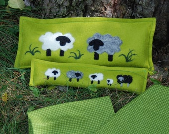 Rice Heating Pad, Microwave Rice Bag, Heat Pack, Microwave Neck Wrap, Spa Neck Wrap, Green With Sheep Needle Felted 100% Wool Bags,