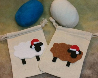 Felted Soap With Christmas Sheep Gift Bag, Your Choice of Color, Handmade, Primitive Country, Christmas, Stocking Stuffer