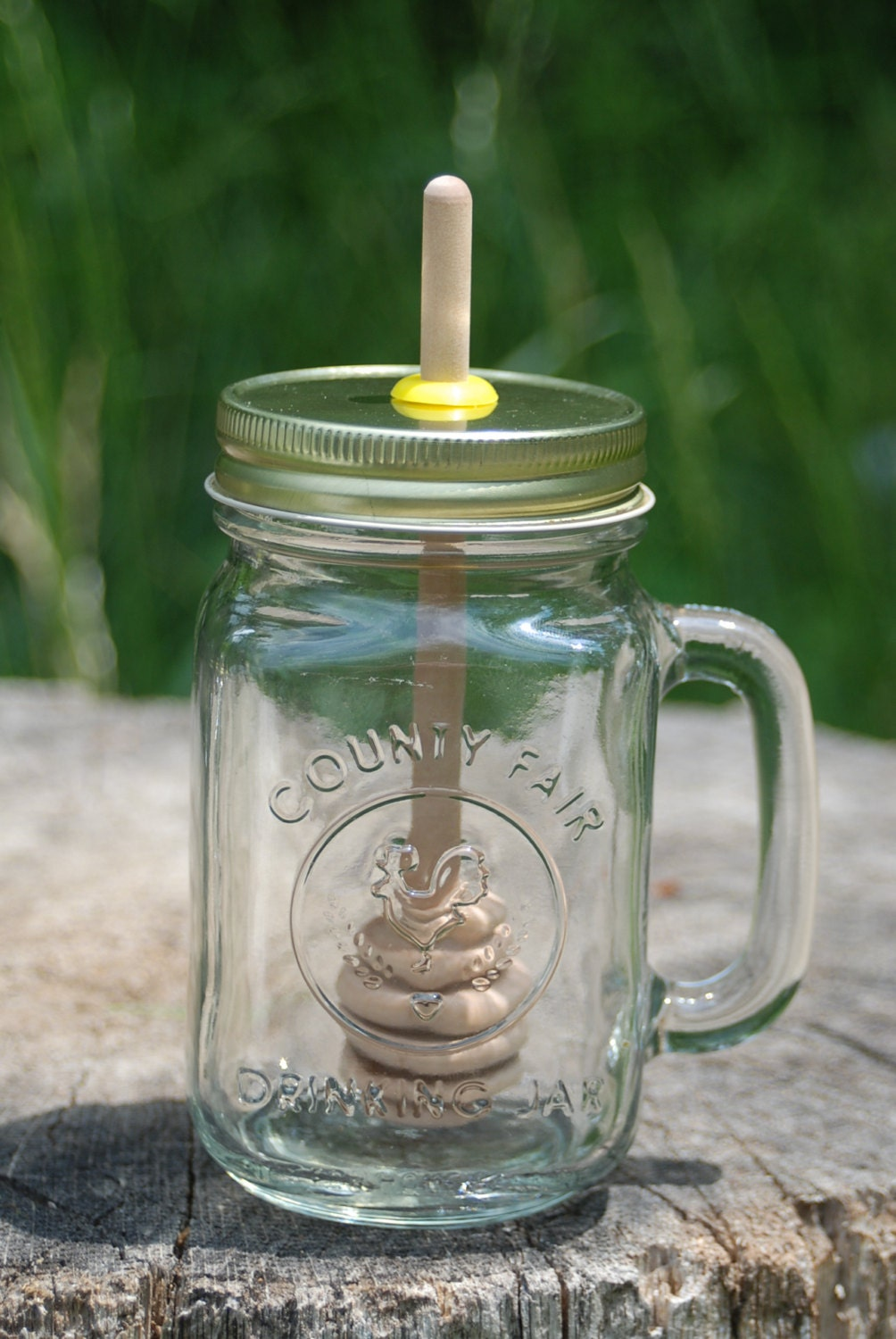 1 big mug mason jar lid with birch honey dipper make your own. Black Bedroom Furniture Sets. Home Design Ideas