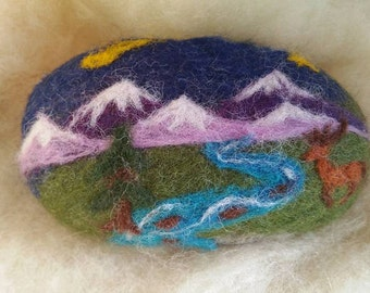 Felted Soap, Rocky Mountains, Deer, Stream, Nature. Handmade Gift