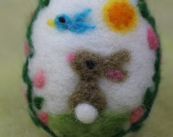 Needle Felted Easter Bunny on an Easter Eggs, Handmade Wool Eggs, Panoramic Egg, Waldorf Inspired, Easter Decoration
