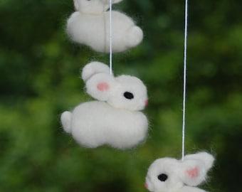 All White Bunny Mobile Needle Fellted 6 Bunnies Handmade Baby Mobile Nursery Decoration