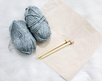 Chunky Scarf Beginner Knitting Kit / Beginner DIY Starter Scarf Kit / Easy Knitting Pattern