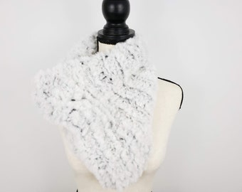 Knitted Faux Fur Bandana Cowl, Black and White Blend Cowl, Thick Warm Knit Scarf, Soft Vegan Friendly Scarf