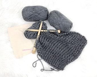 Chunky Infinity Scarf Knitting Kit / Beginner DIY Scarf Kit / Easy Knitting Pattern