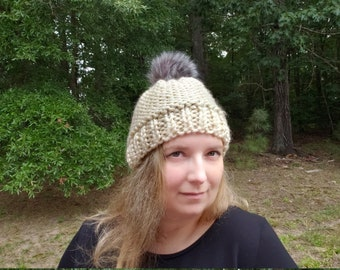 Cream Knitted Beanie, Faux Fur Pom Hat, Chunky Knit Winter Hat, Warm Pompom Beanie, Gift for Her, Gift for Teens