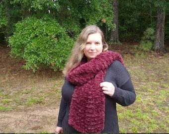 Burgundy Knitted Faux Fur Scarf, Warm Cozy Minky Scarf, Dark Red Vegan Friendly Scarf, Soft Hand Knit Scarf