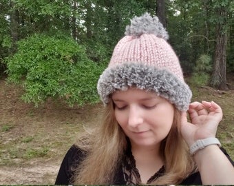 Pink and Gray Knitted Beanie, Faux Fur Pom Hat, Chunky Knit Winter Hat, Warm Pompom Beanie, Gift for Her, Gift for Teens