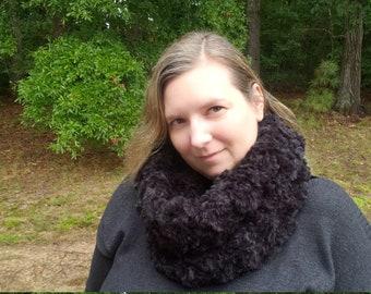 Warm Black Faux Fur Cowl, Soft Vegan Friendly Fur Scarf, Cozy Knitted Cowl