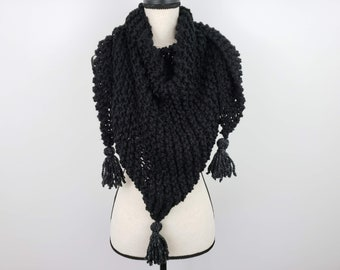 Chunky Knitted Triangle Scarf, Soft Black Tassel Shawl, Thick Warm Wrap, Vegan Friendly Shawl, Gift for Her
