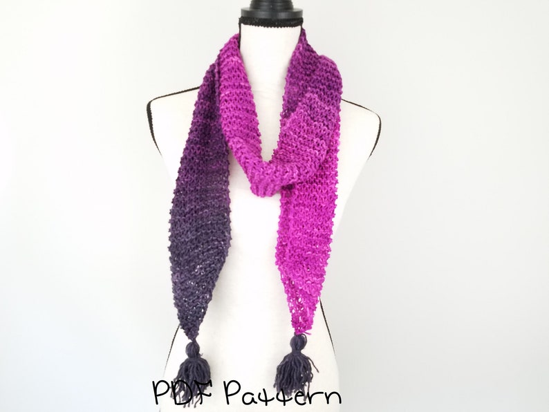 Tassel Scarf Knitting Pattern Easy Beginner Pdf Pattern Quick Etsy