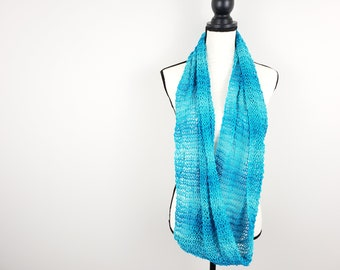 Blue Lace Knitted Infinity Scarf / Hand Dyed Organic Cotton Scarf / Ocean Blue Lightweight Cowl / Luxury Cotton Scarf