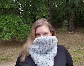 Soft Knitted Faux Fur Bandana Cowl, Light Blue Cowl, Thick Warm Knit Scarf, Vegan Friendly Scarf