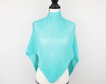 Light Blue Knit Shawl, Hand Knit Triangle Scarf, Lightweight Wrap, Warm Weather Shawl