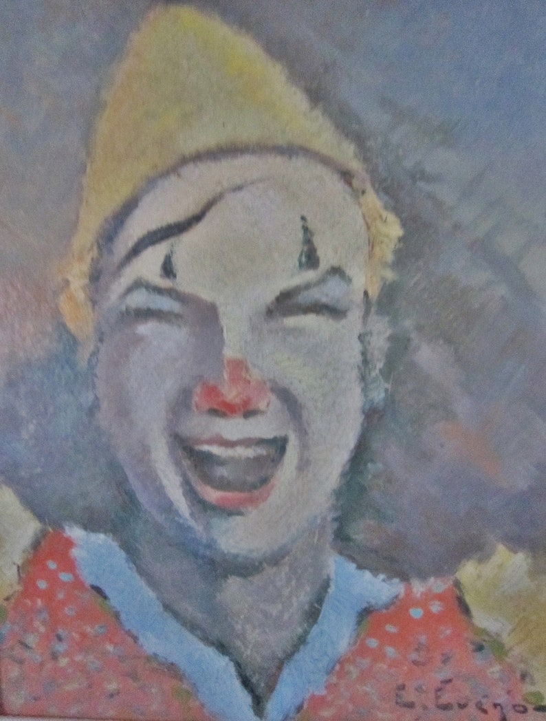Signed French Painting Pierrot Edouard Eveno