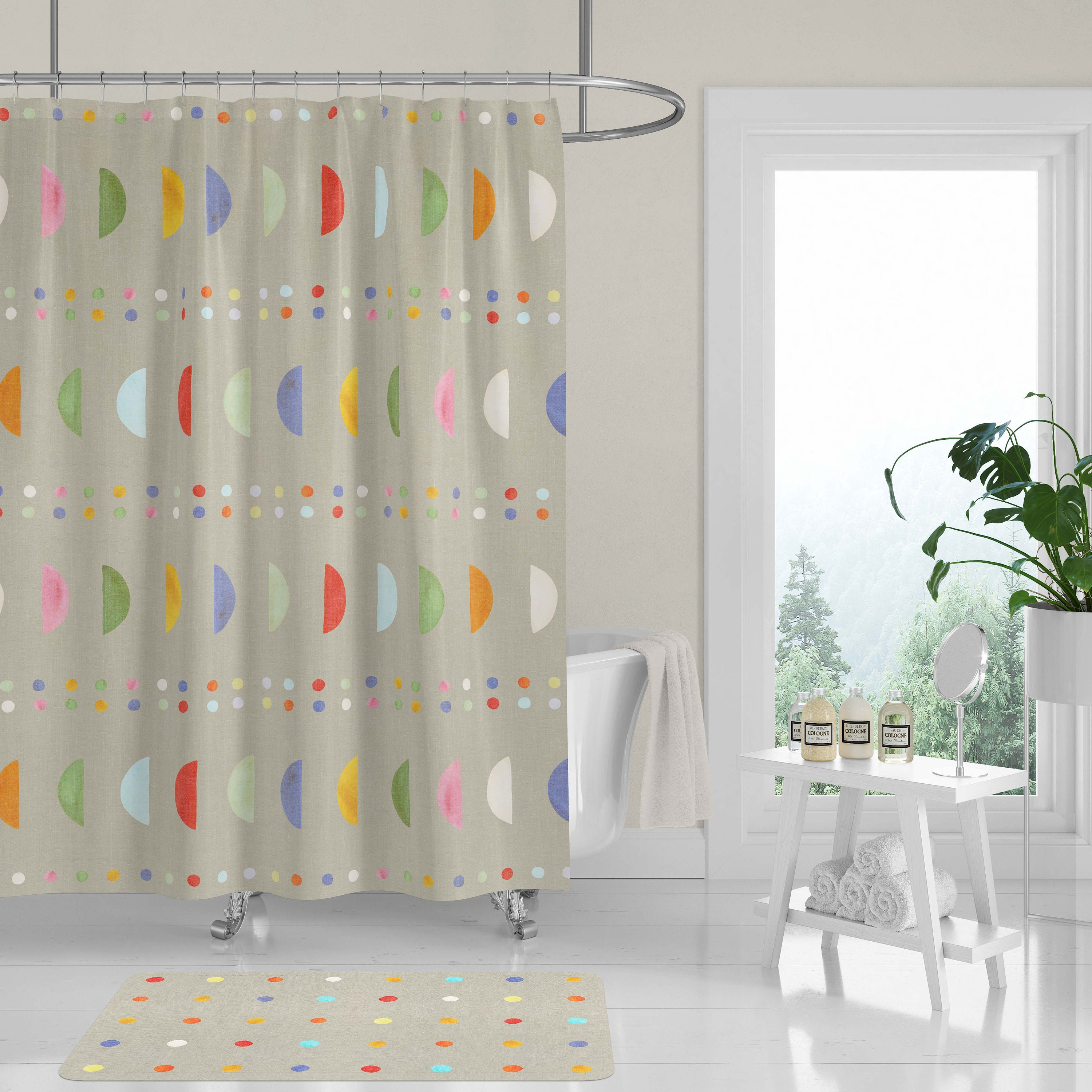 New Premium Fabric Shower Curtain Modern Colorful Crescent Moons Dots Woodblock Cutouts Neutral Tan Beige Linen Look Machine Washable