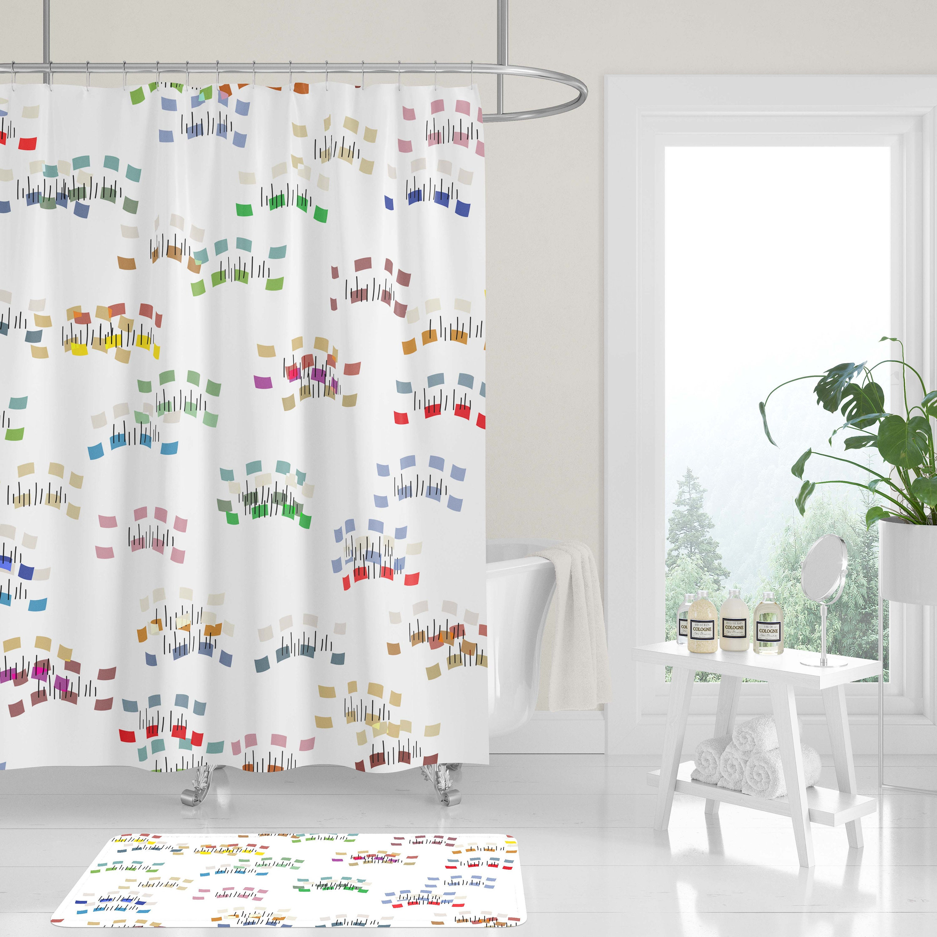 New Premium Fabric Shower Curtain Fun Modern Colorful Abstract Matisse Cutouts Whimsical Wavy Dash Neutral White Background Machine Washable