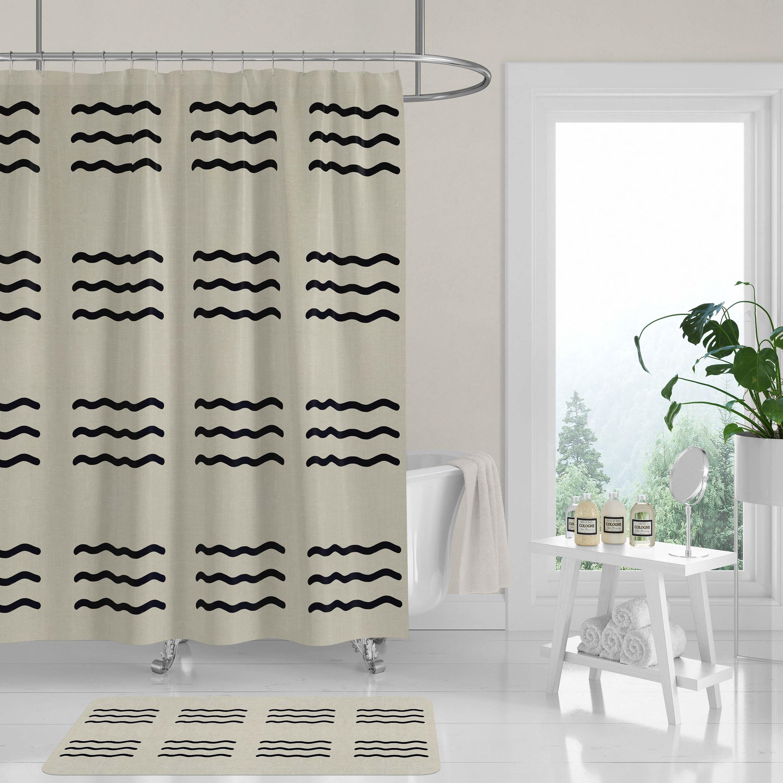 New Premium Fabric Shower Curtain Modern Masai Mara Black Onyx Wavy Lines Woodblock Cutouts Neutral Tan Beige Linen Look Machine Washable