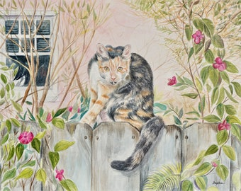 """Calico Cat Original 11"""" x 14"""" Watercolor Painting on Board"""