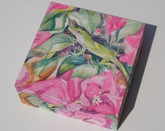 Lizard Original 3-D Panel Watercolor