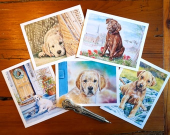 Puppy Pack of 5 Blank Dog Lover Notecards
