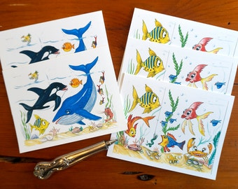 Funny Fish Notecards Pack of 5 Cartoon Art