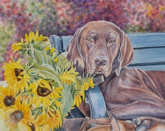 Dog with Sunflowers Original Framed Watercolor 11 x 14