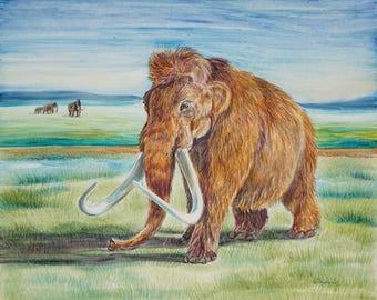 "Original Acrylic Woolly Mammoth 8"" x 10 Framed Painting"