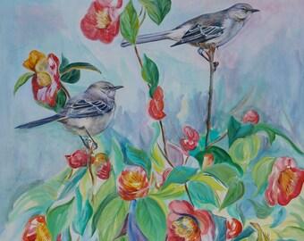 Mockingbirds and Lizard on Camellia Original Acrylic