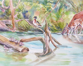 """Deer and Wood Ducks Watercolor """"First Spring"""" 15"""" x 25"""""""