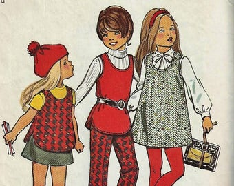 Vintage 1972 Simplicity Pattern #5165~ Child Size 4~ Girls SIMPLE-TO-SEW Cute  Jumper, Tunic, Pants and Skirt School-Daze