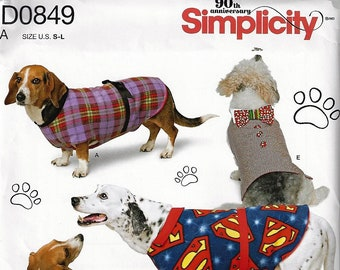 Simplicity Pattern #8538/D0849~5 Adorable Dog Coats in Three Sizes for Your Pooch~ Sz S-L~New Uncut Factory Folded