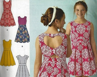 54f496a828b Simplicity Pattern  1382~Girls  Dresses with Back Variations ~Girls Plus Sz 8  1 2-16 1 2~New Uncut Factory Folded