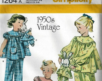 7f1ef199a2f Simplicity Pattern  1264~Child s Vintage 1950 s Loungewear and Stuffed  Bunny with Outfit~Child Size 3-8~New Uncut