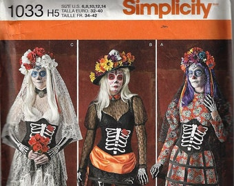 Simplicity #1033~MISSES COSTUME~Simplicity Misses' Day of the Dead Costumes ~Misses Sz 6-14 or 14-22~New Uncut Factory Folded