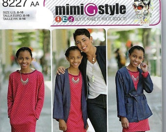 ddfc3eef821 Simplicity Pattern  8227 Mimi G Style Girls  and Girls  Plus Jacket Dress  and Knit Leggings~Girls  Sz 8-16 or 8 1 2-16 1 2~New-Uncut