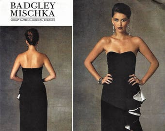 BADGLEY MISCHKA for Vogue American Designer Pattern #v1426~Misses Dress Size 14-22~Ruffled  Floor-Length Side-Slit Strapless Dress