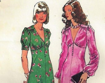 "Vintage 1973 Simplicity Pattern #5961~Junior Sz 11 Bust 33.5""~Glamorous Short or Floor Length Dress"