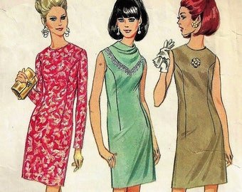 Vint 1967 McCall's Sewing Pattern #8994~Misses Sz 10~Misses' Dress in Three Versions Sheath Dress with Beaded Cowl