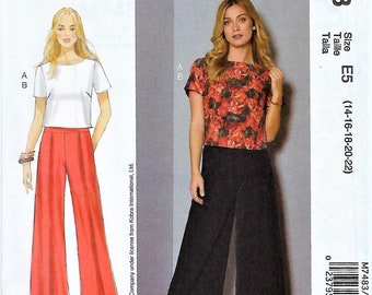 a888c8f14 McCall's NICOLE MILLER PATTERN #M7483~Misses' Short Sleeve Top and Pleated,  Wide-Leg Pants ~Misses Sz 6-14 or 14-22~Uncut Factory Folded