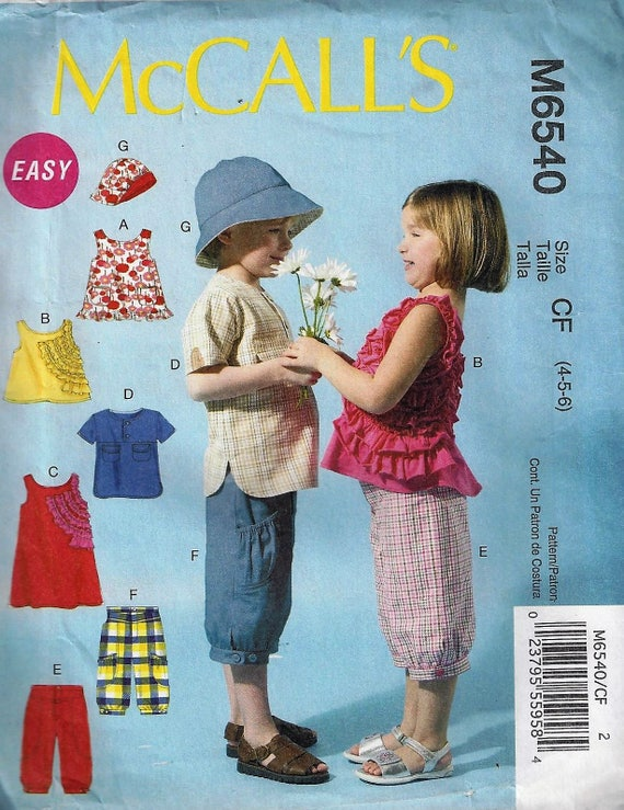 McCall/'s 7836 Boys/' and Girls/' Jacket Vest Pants Top Shorts and Hat  Pattern