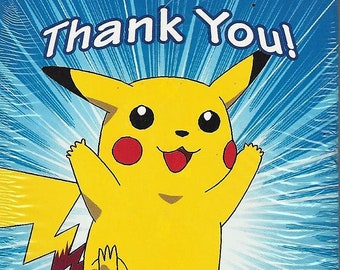 Vintage 1999 Pokémon  'Pikachu' Thank You Notes w/ Envelopes (8ct) by DesignWare -  New in Bag