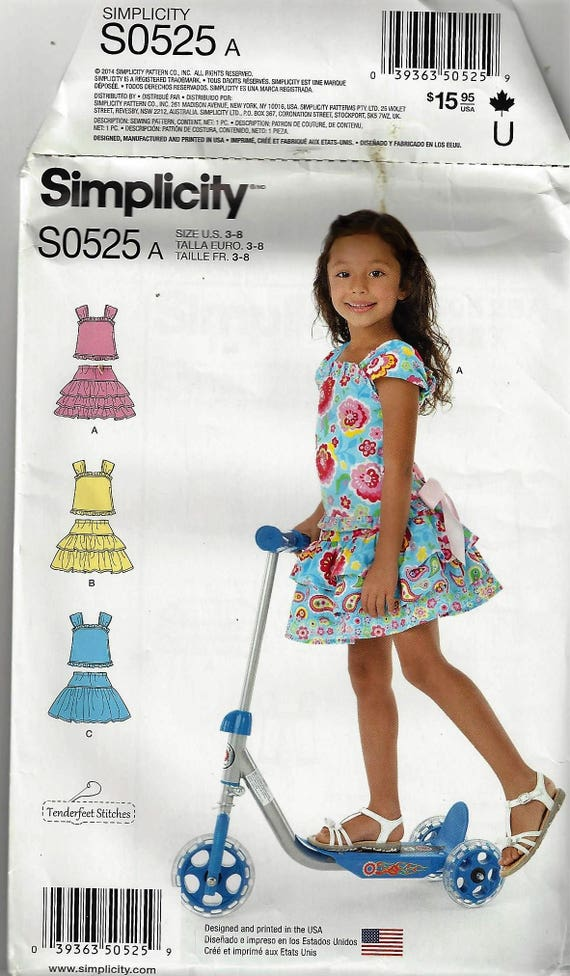 Simplicity Patterns So6060 Little Girls Scooter Skirt And Etsy Stunning Simplicity Patterns