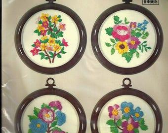"Vint . ""I'M THINKING Of YOU"" Sentimental Studio 12 KEEPSAKE Kit# 4665~Embroidery Kit for 4 Framed Floral Pictures~Sealed Kit"