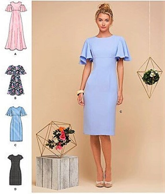 Simplicity Sewing Pattern Dress Pussy Bow Mimi G 6-14 16-24 8690 B/&W COVER UNCUT