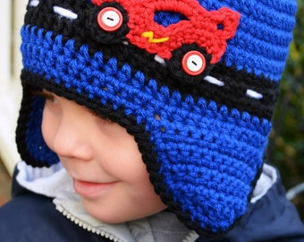 e7f5544bc28 Crochet - RACE CAR HAT with earflaps