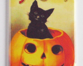 Halloween Black Cat in Pumpkin Fridge Magnet